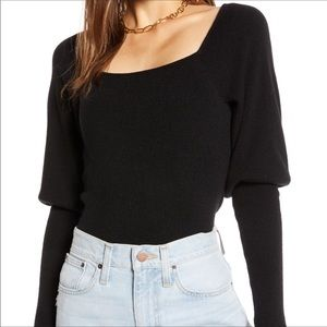 Something Navy Square Neck Long puffy Sleeve Top